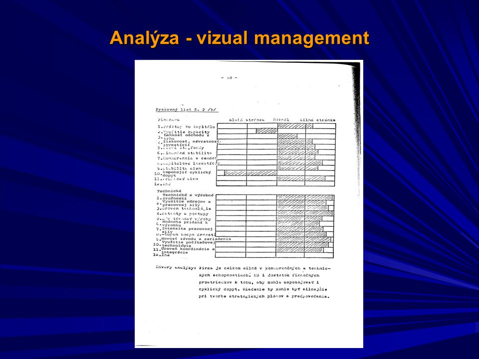 Analýza - vizual management