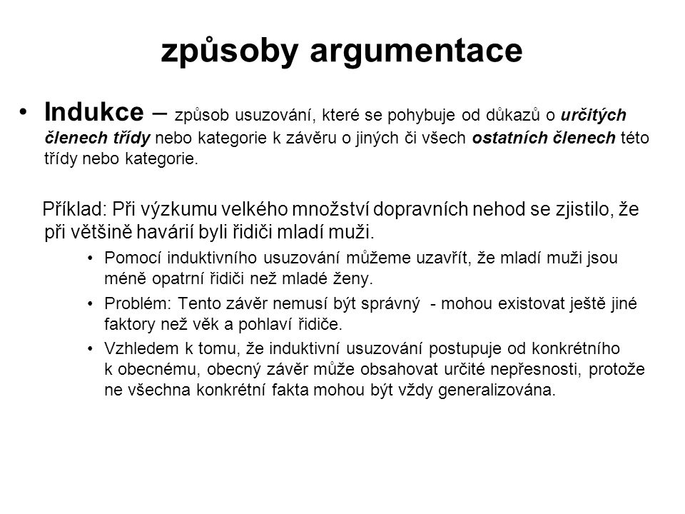způsoby argumentace