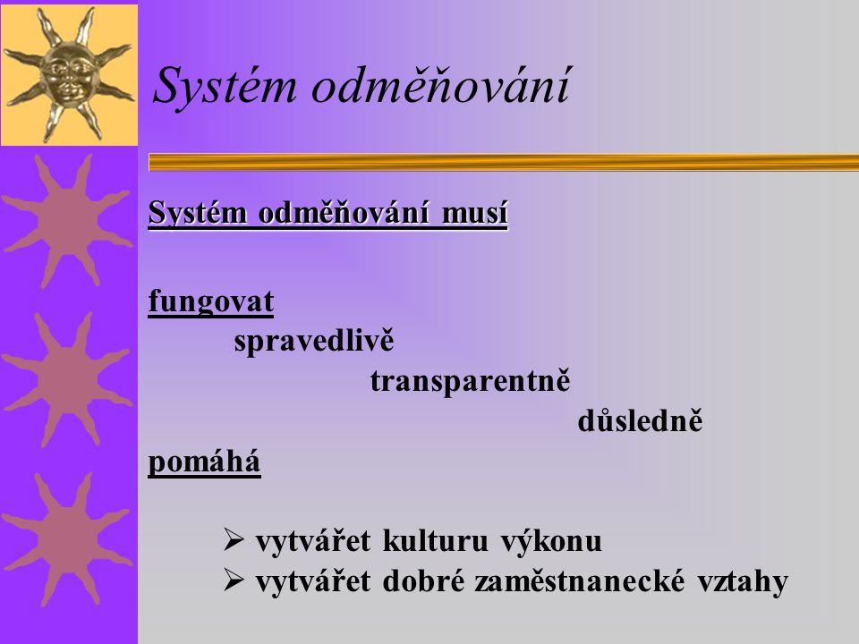 Systém odměňování Systém odměňování musí fungovat spravedlivě