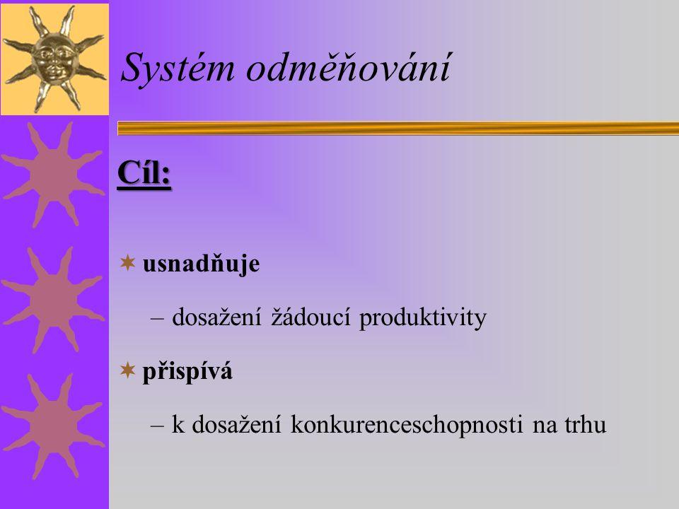Systém odměňování Cíl: usnadňuje dosažení žádoucí produktivity