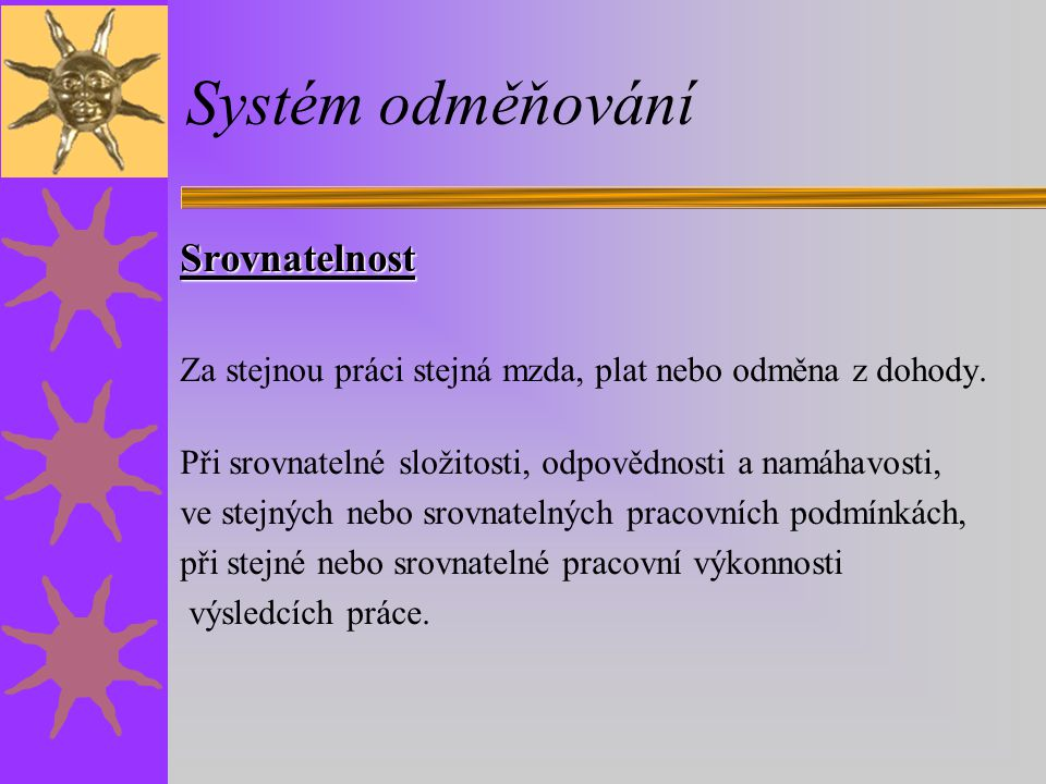 Systém odměňování Srovnatelnost