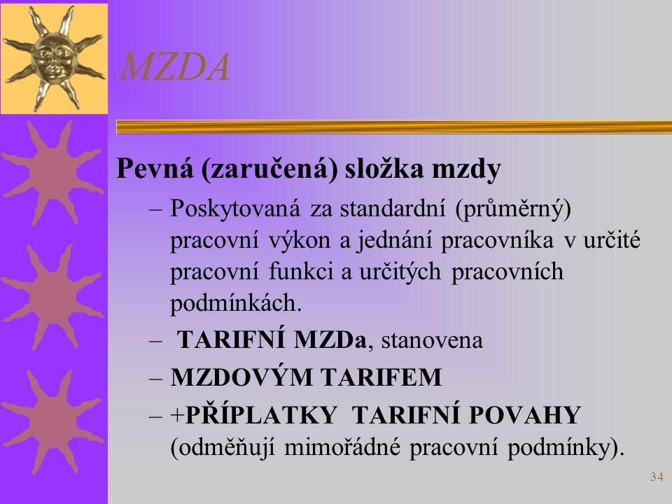 MZDA Pevná (zaručená) složka mzdy