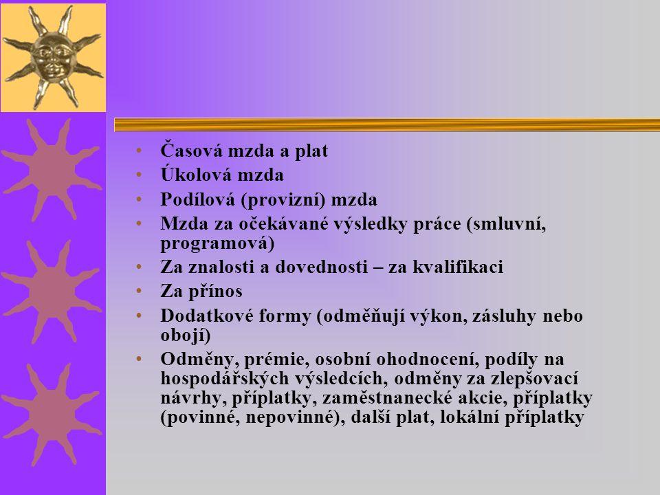 Časová mzda a plat Úkolová mzda. Podílová (provizní) mzda. Mzda za očekávané výsledky práce (smluvní, programová)