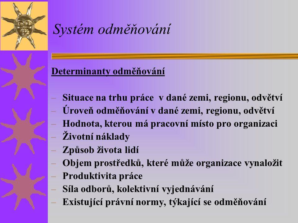 Systém odměňování Determinanty odměňování