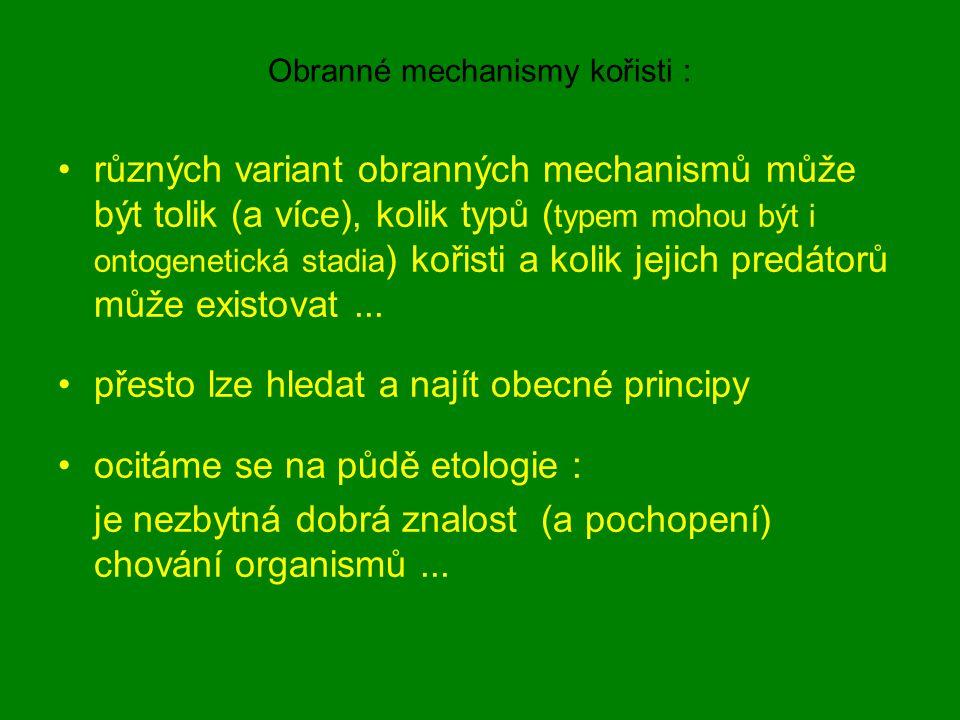 Obranné mechanismy kořisti :