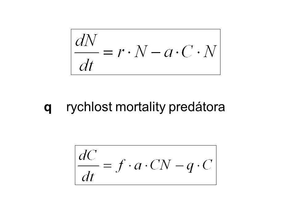 q rychlost mortality predátora