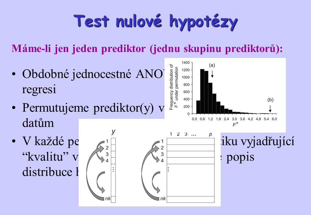Test nulové hypotézy Obdobné jednocestné ANOVA nebo jednoduché regresi