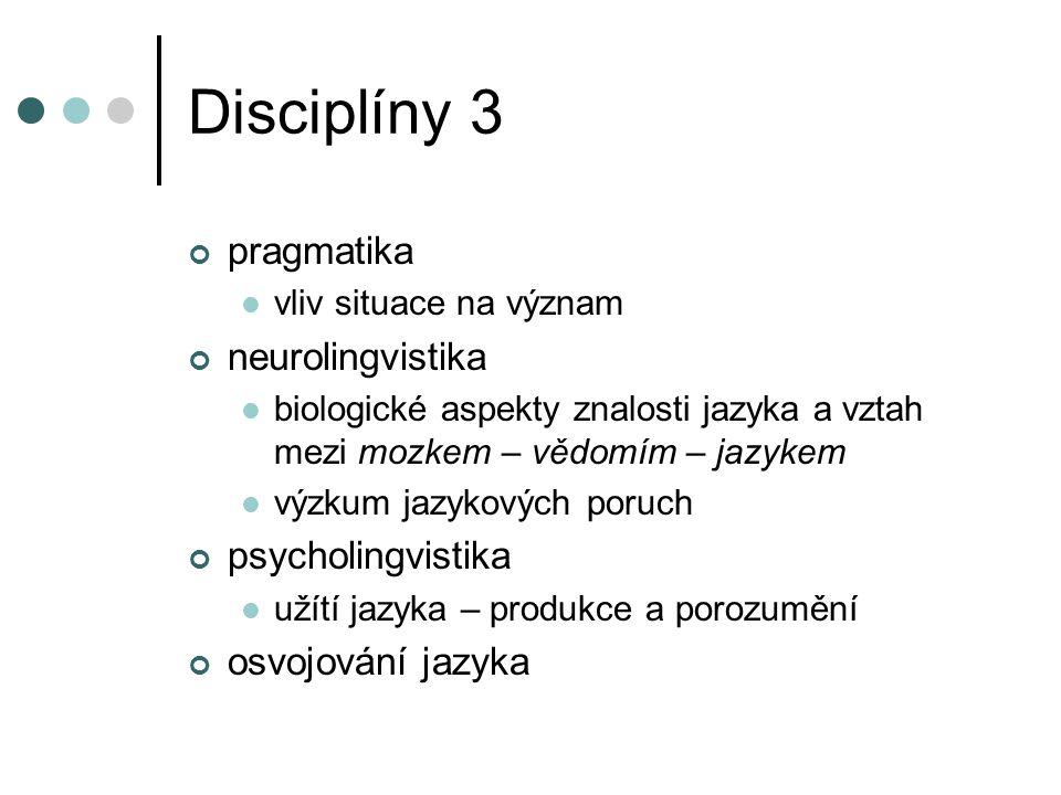 Disciplíny 3 pragmatika neurolingvistika psycholingvistika