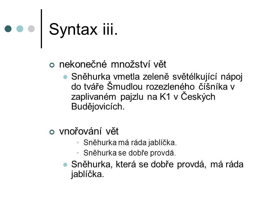 Syntax iii. nekonečné množství vět vnořování vět