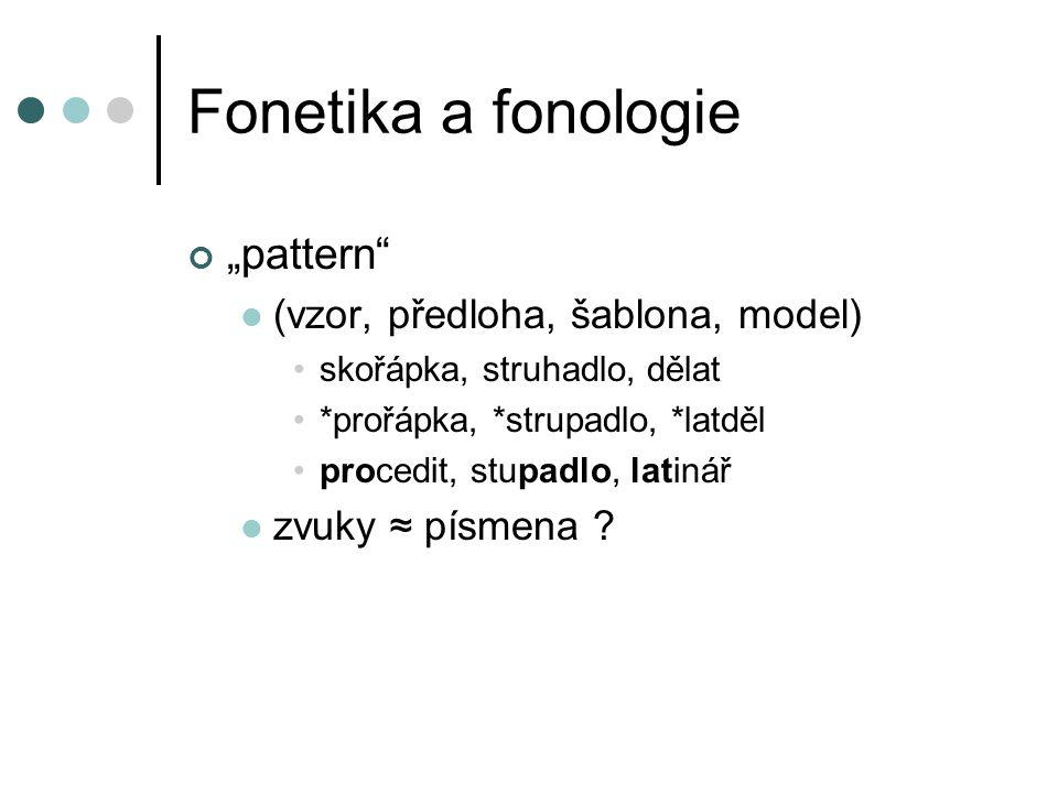 """Fonetika a fonologie """"pattern (vzor, předloha, šablona, model)"""