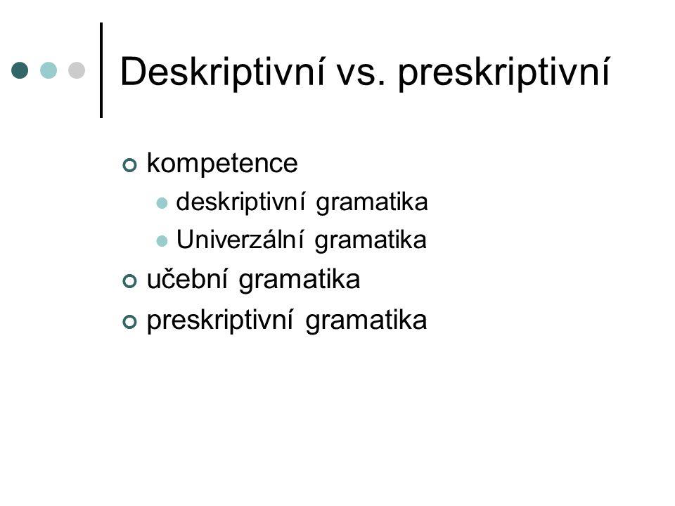 Deskriptivní vs. preskriptivní