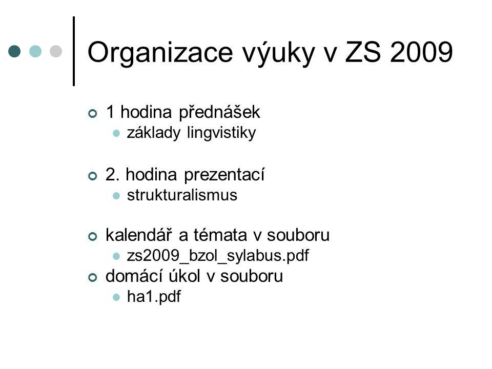 Organizace výuky v ZS 2009 1 hodina přednášek 2. hodina prezentací