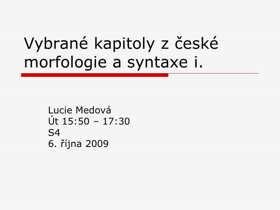 Vybrané kapitoly z české morfologie a syntaxe i.