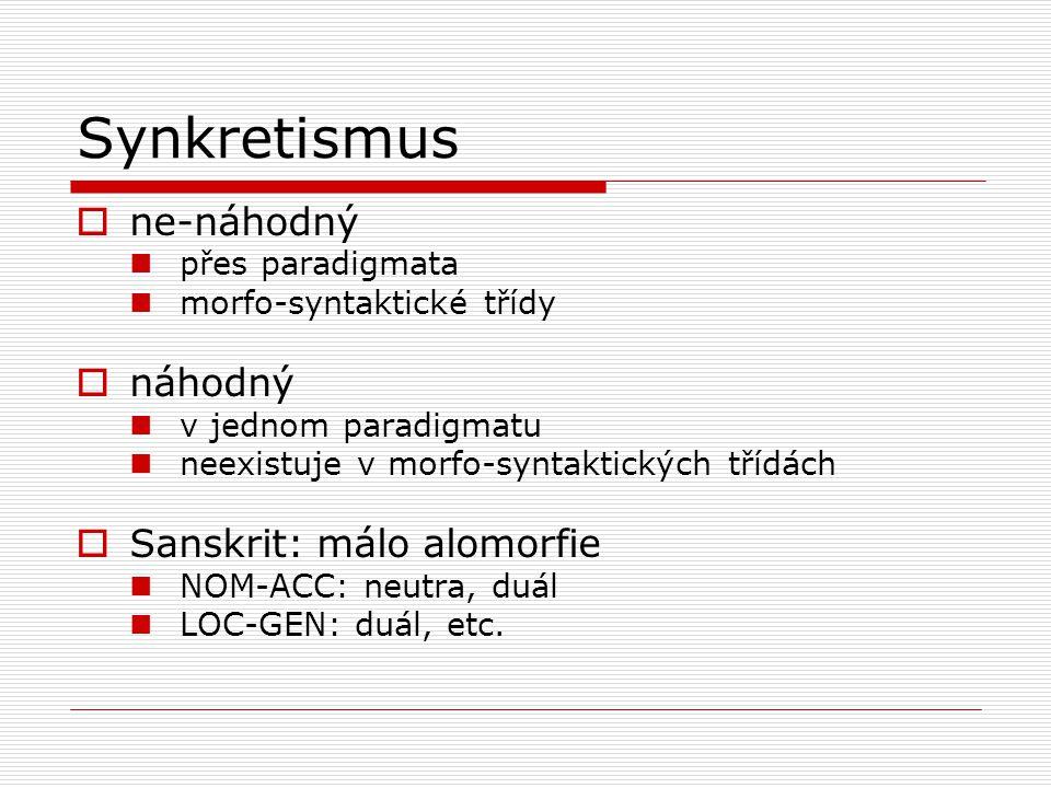 Synkretismus ne-náhodný náhodný Sanskrit: málo alomorfie
