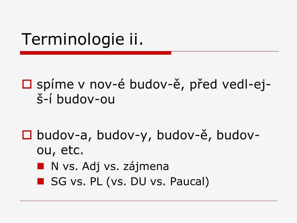 Terminologie ii. spíme v nov-é budov-ě, před vedl-ej-š-í budov-ou