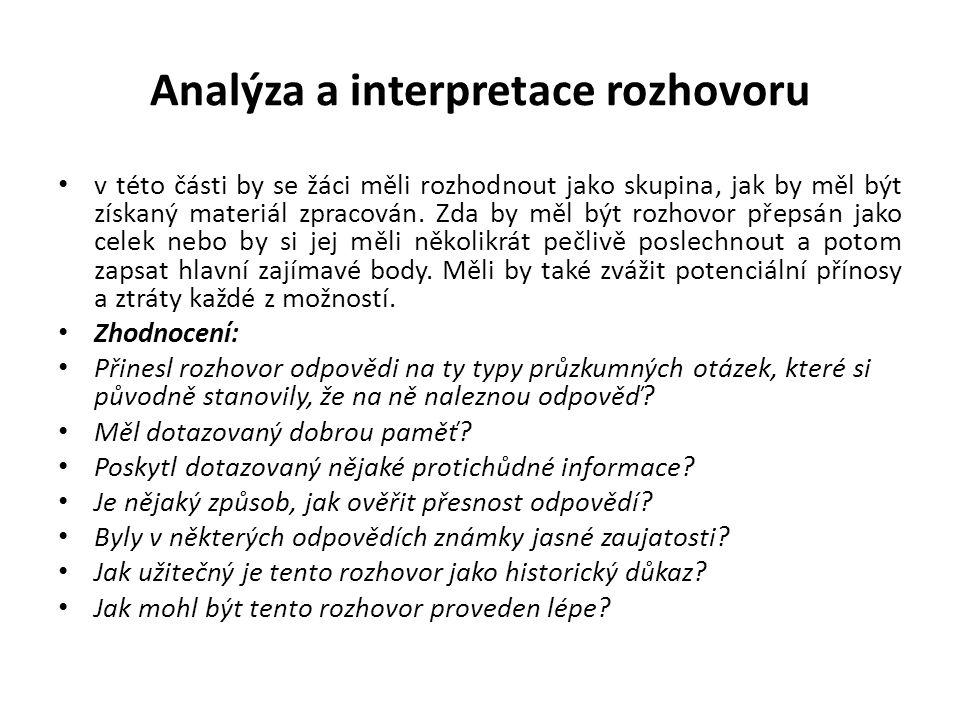 Analýza a interpretace rozhovoru