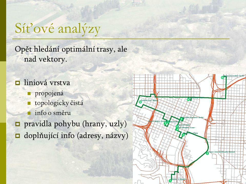 Síťové analýzy Opět hledání optimální trasy, ale nad vektory.