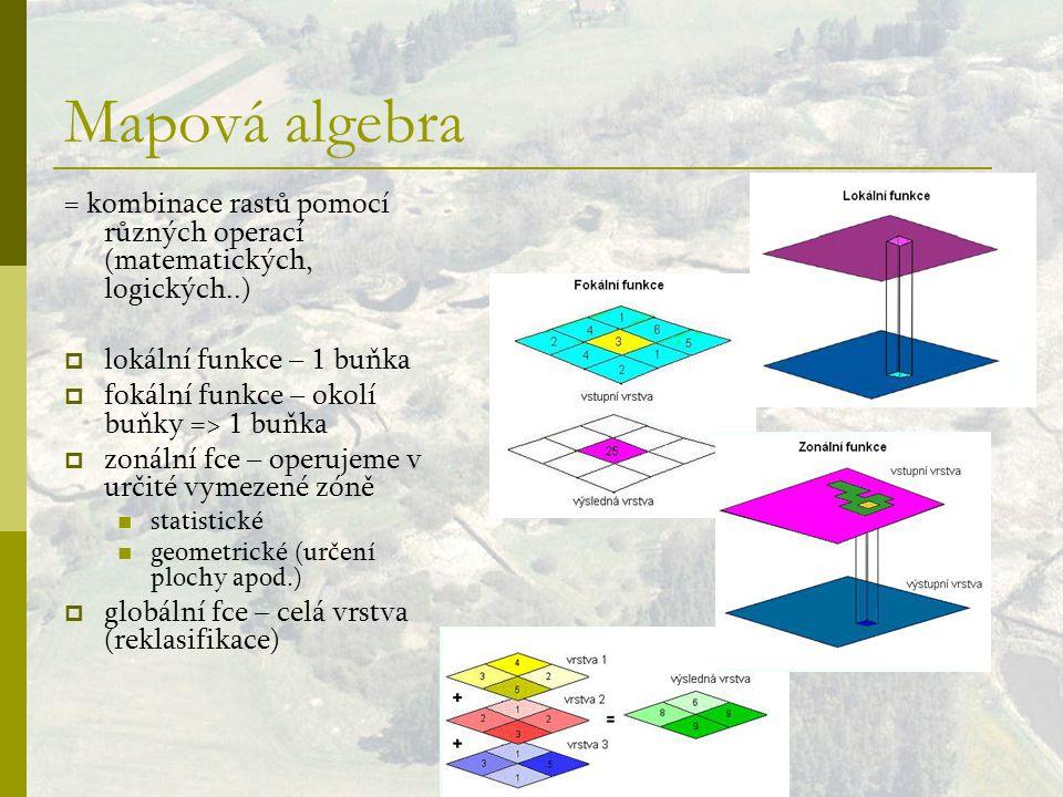Mapová algebra = kombinace rastů pomocí různých operací (matematických, logických..) lokální funkce – 1 buňka.