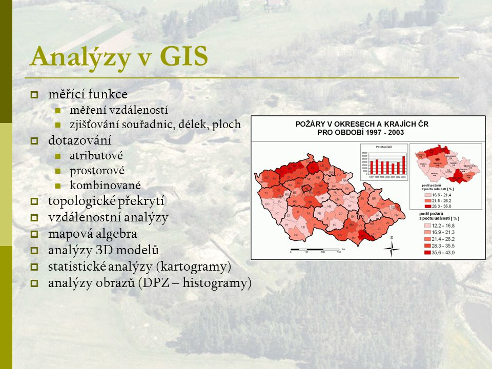 Analýzy v GIS měřící funkce dotazování topologické překrytí