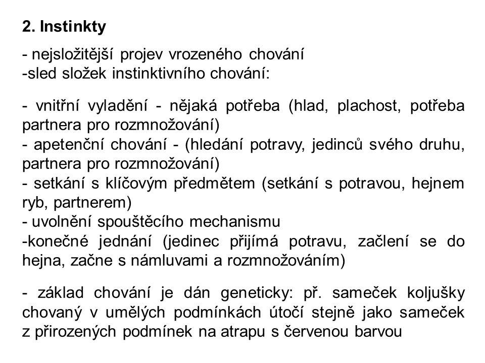 2. Instinkty - nejsložitější projev vrozeného chování. sled složek instinktivního chování:
