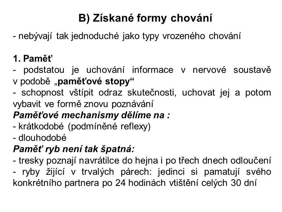 B) Získané formy chování