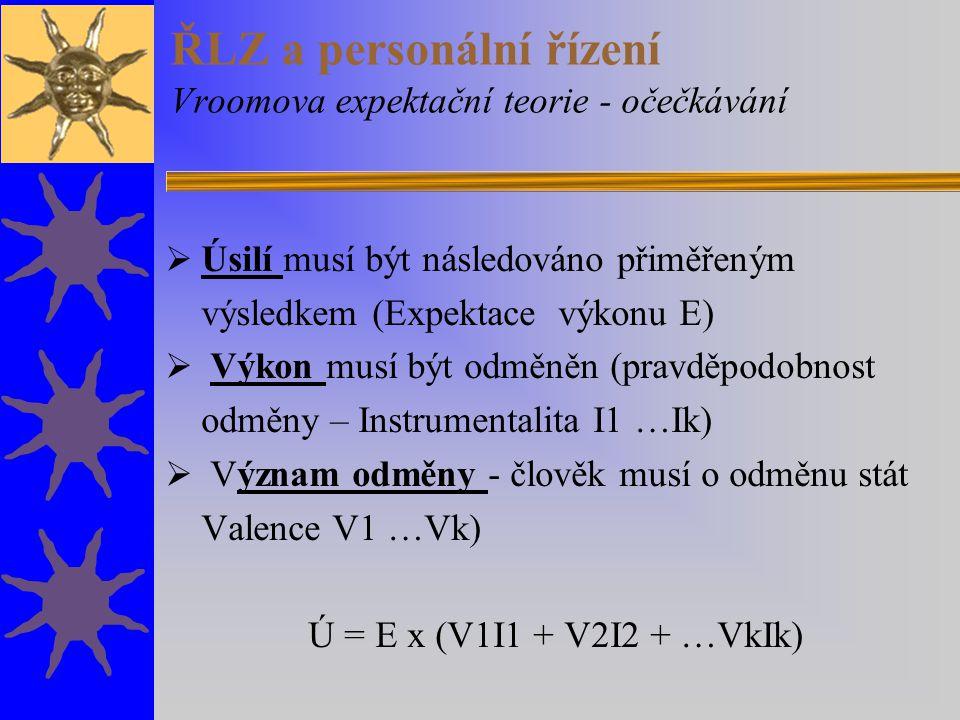 ŘLZ a personální řízení Vroomova expektační teorie - očečkávání