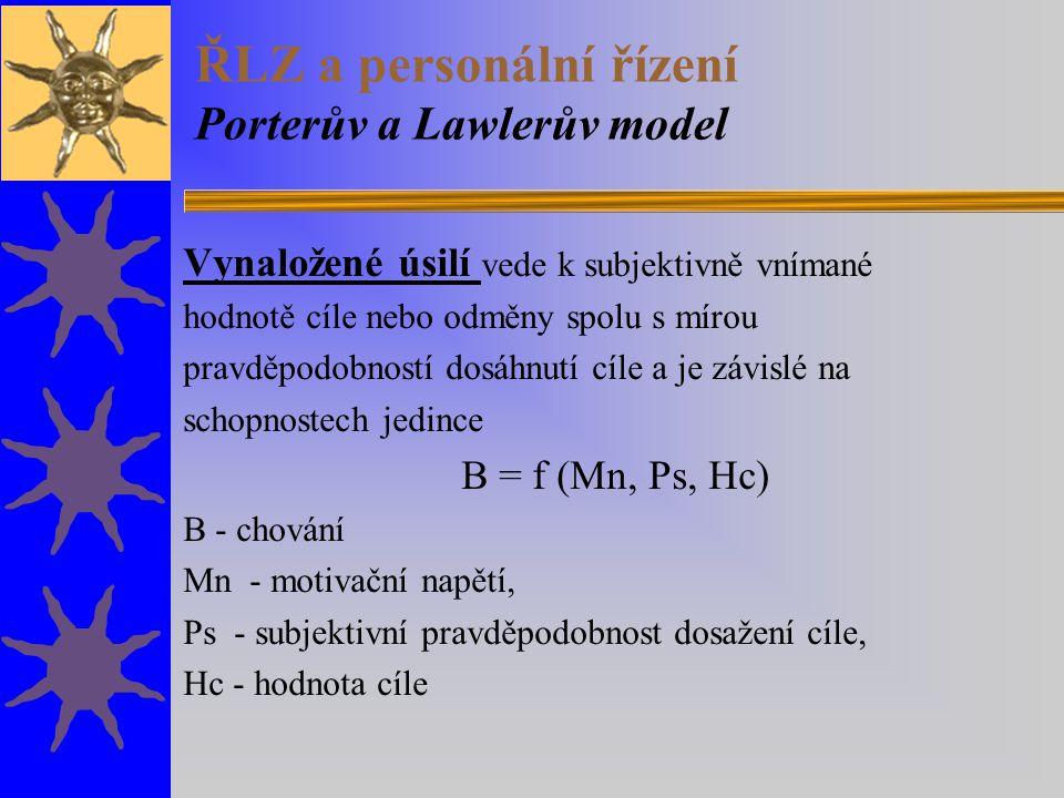 ŘLZ a personální řízení Porterův a Lawlerův model