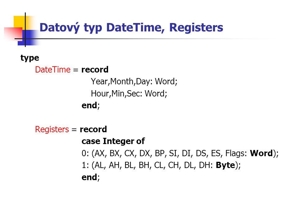 Datový typ DateTime, Registers