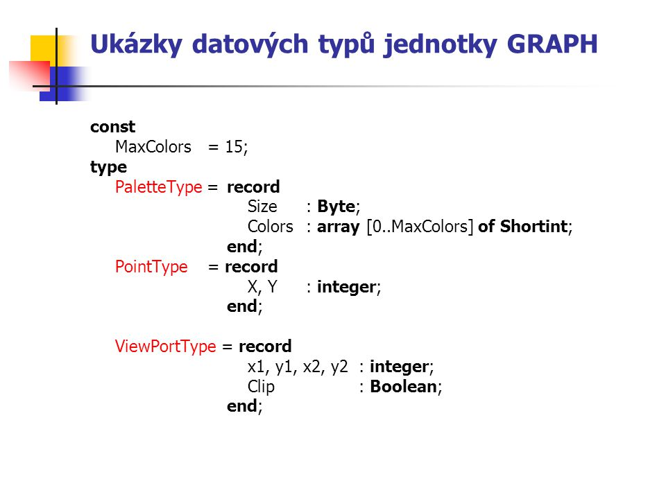 Ukázky datových typů jednotky GRAPH