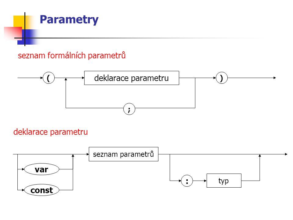 Parametry seznam formálních parametrů deklarace parametru