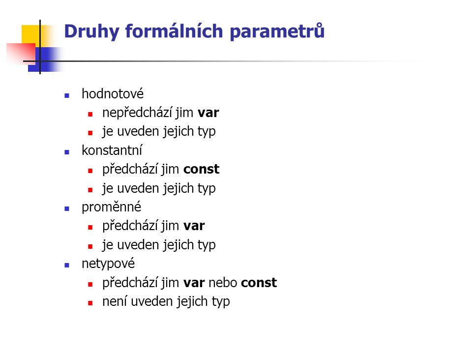 Druhy formálních parametrů