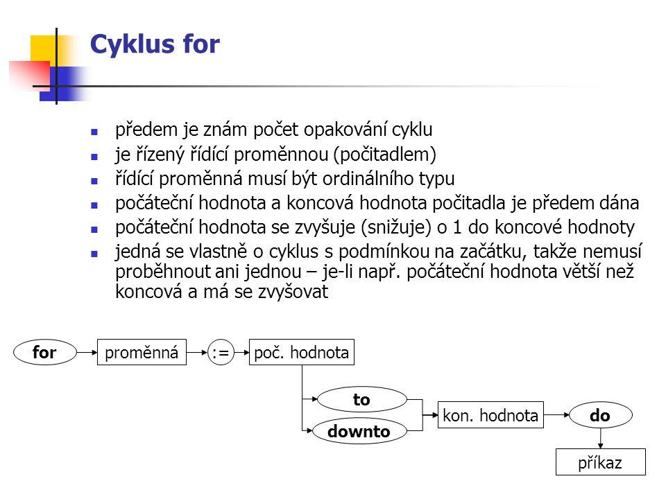 Cyklus for předem je znám počet opakování cyklu