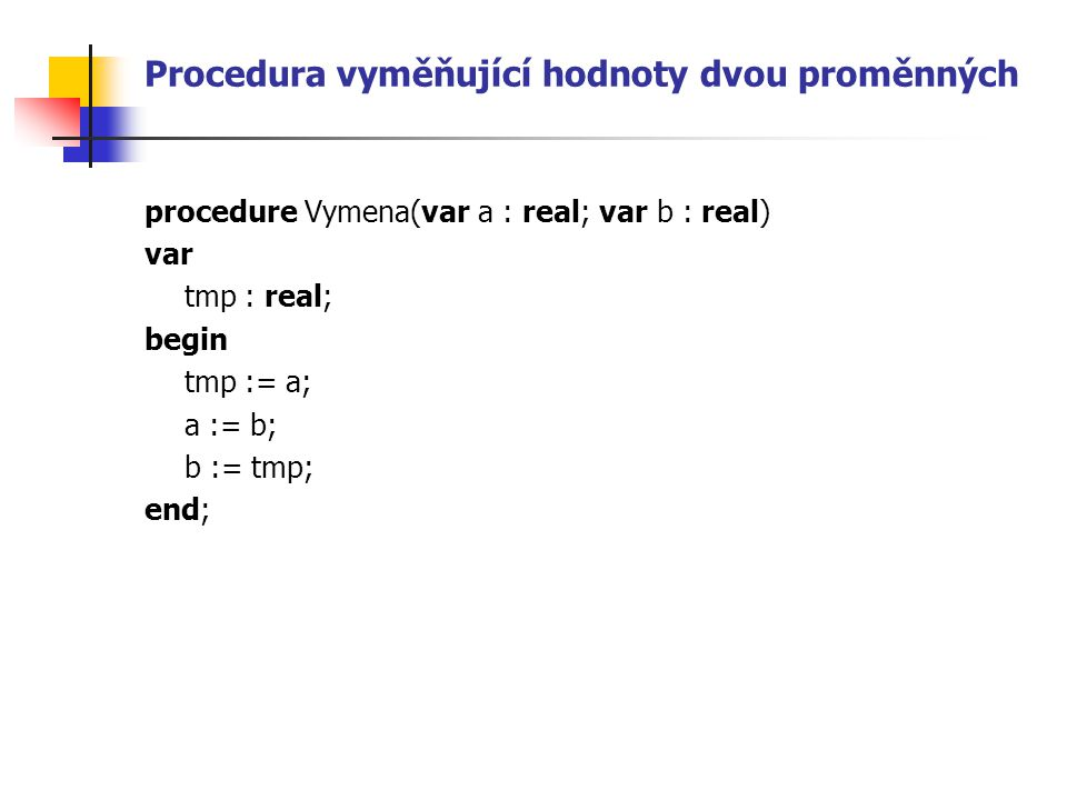 Procedura vyměňující hodnoty dvou proměnných