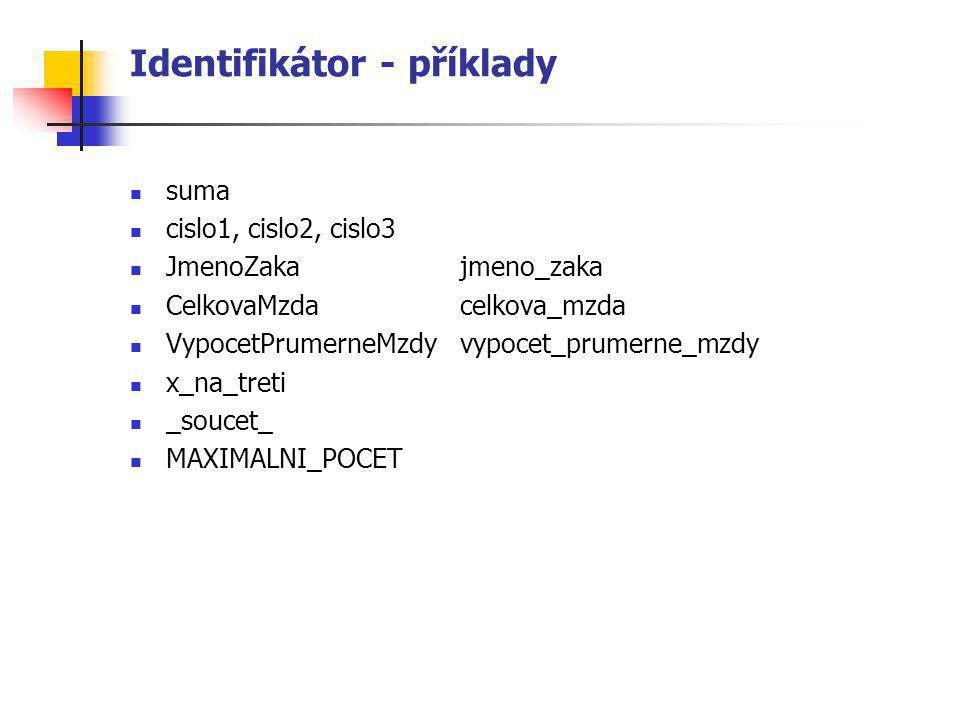 Identifikátor - příklady