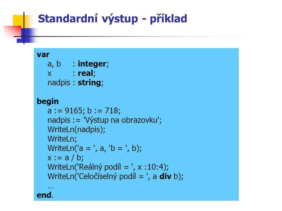 Standardní výstup - příklad