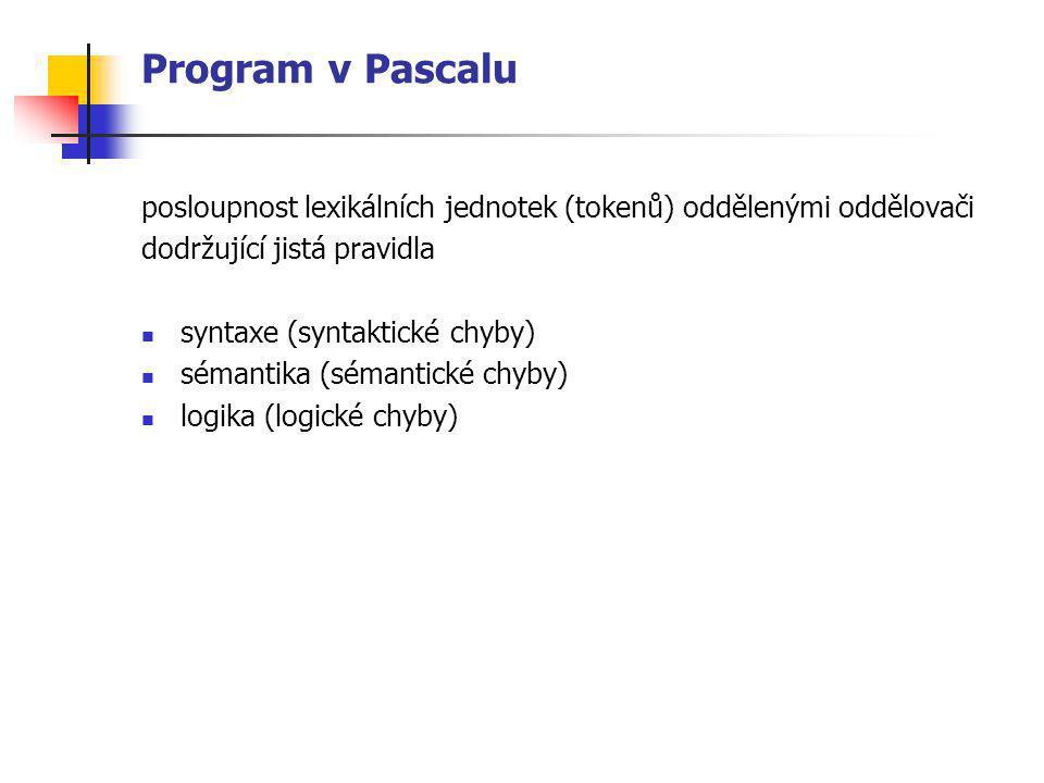 Program v Pascalu posloupnost lexikálních jednotek (tokenů) oddělenými oddělovači. dodržující jistá pravidla.