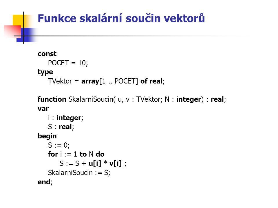 Funkce skalární součin vektorů