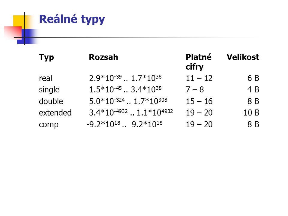 Reálné typy Typ Rozsah Platné Velikost cifry