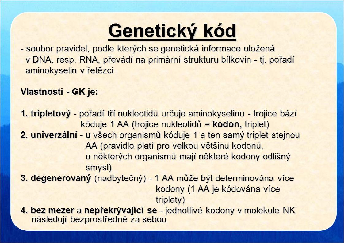Genetický kód - soubor pravidel, podle kterých se genetická informace uložená. v DNA, resp. RNA, převádí na primární strukturu bílkovin - tj. pořadí.