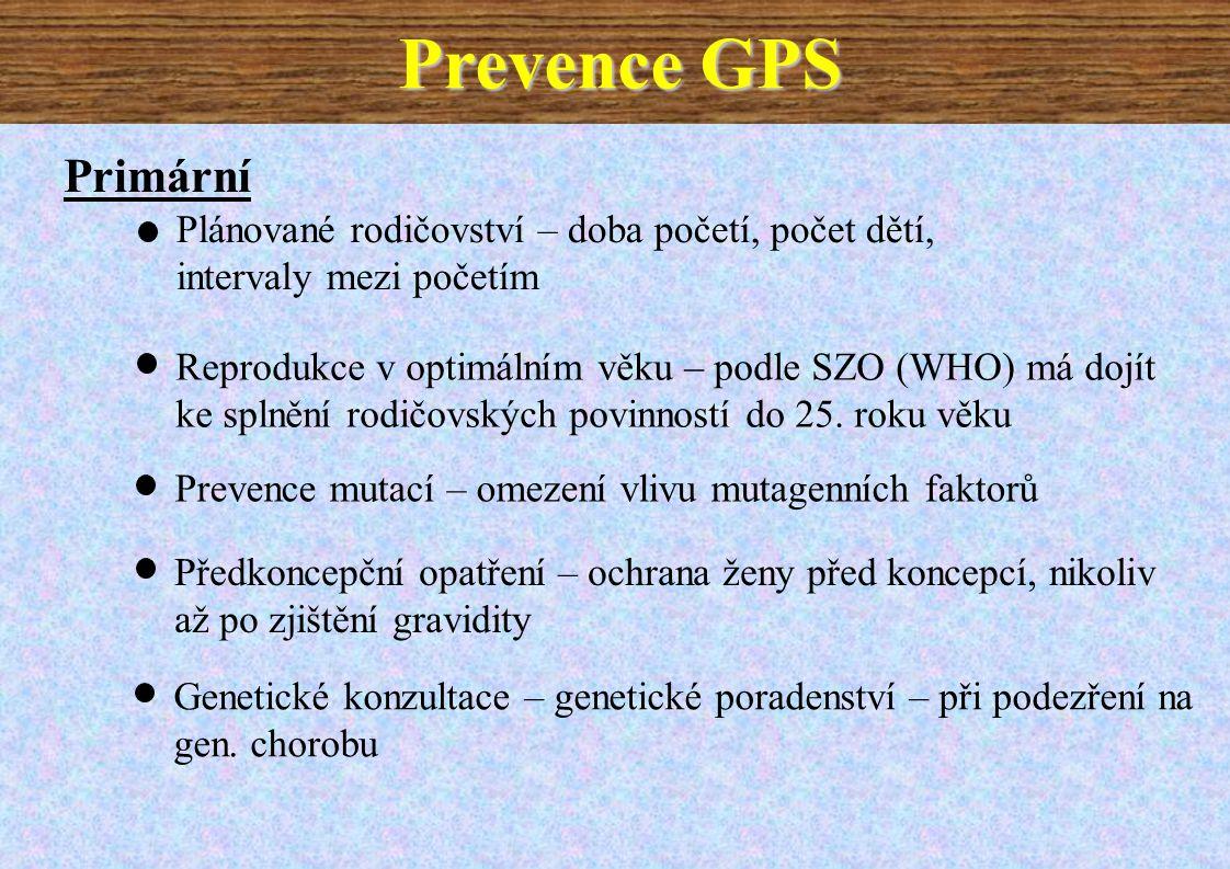 Prevence GPS Primární. Plánované rodičovství – doba početí, počet dětí, intervaly mezi početím.