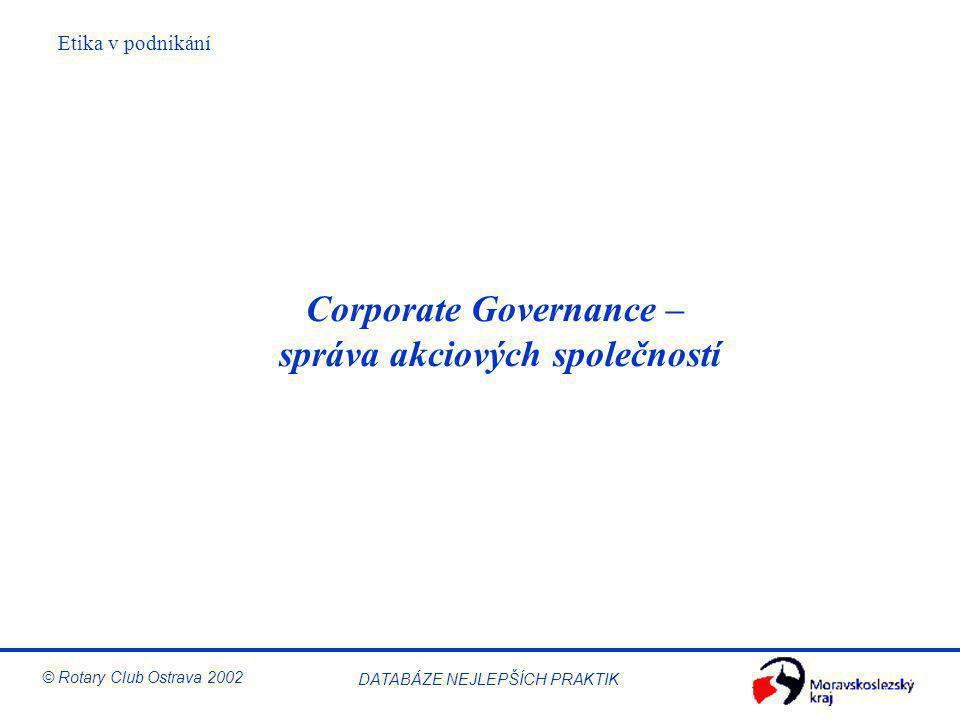 Corporate Governance – správa akciových společností
