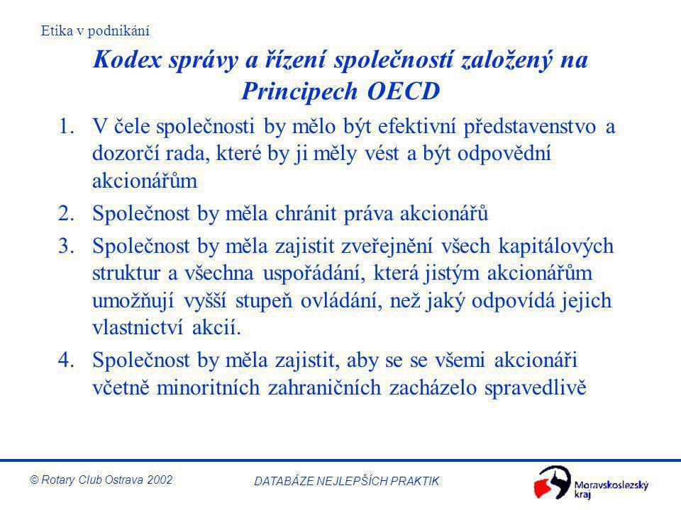 Kodex správy a řízení společností založený na Principech OECD