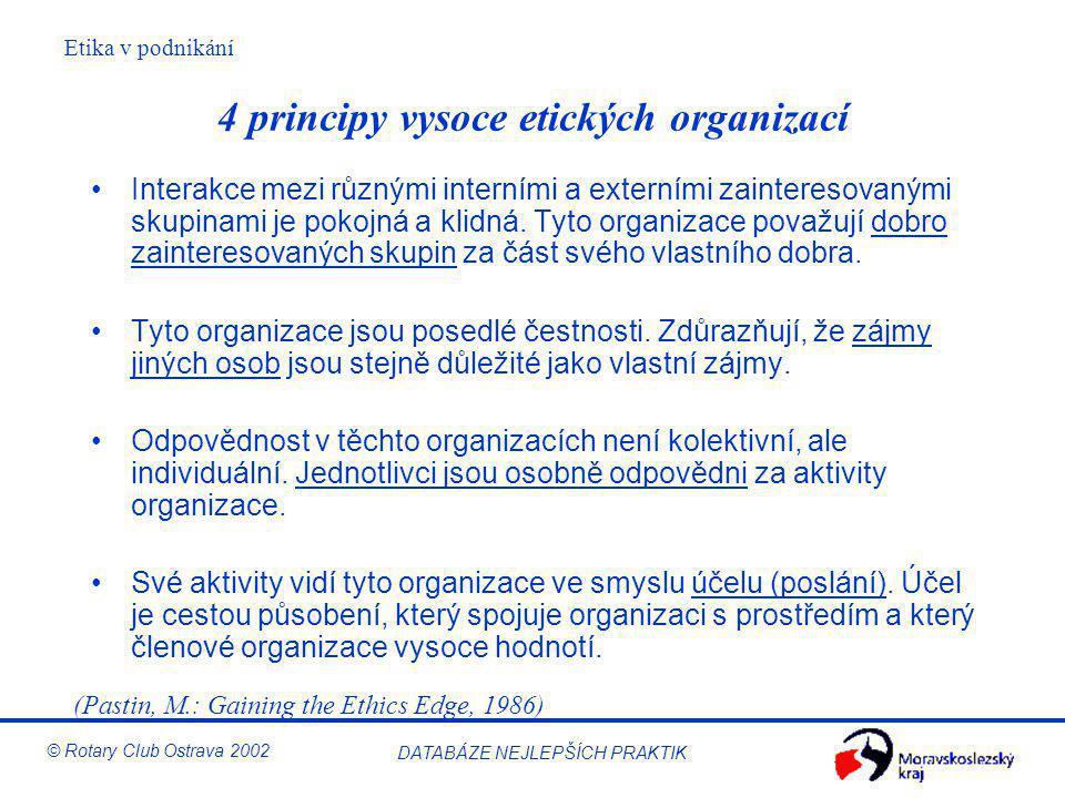 4 principy vysoce etických organizací
