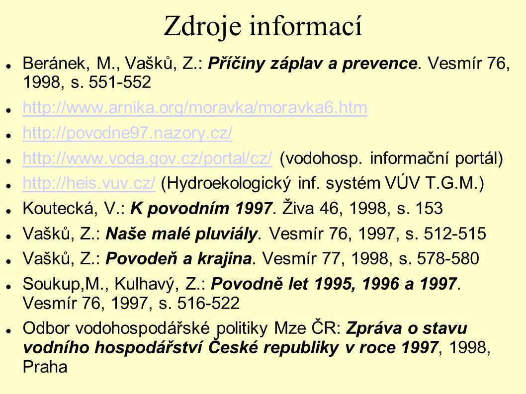 Zdroje informací Beránek, M., Vašků, Z.: Příčiny záplav a prevence. Vesmír 76, 1998, s. 551-552. http://www.arnika.org/moravka/moravka6.htm.