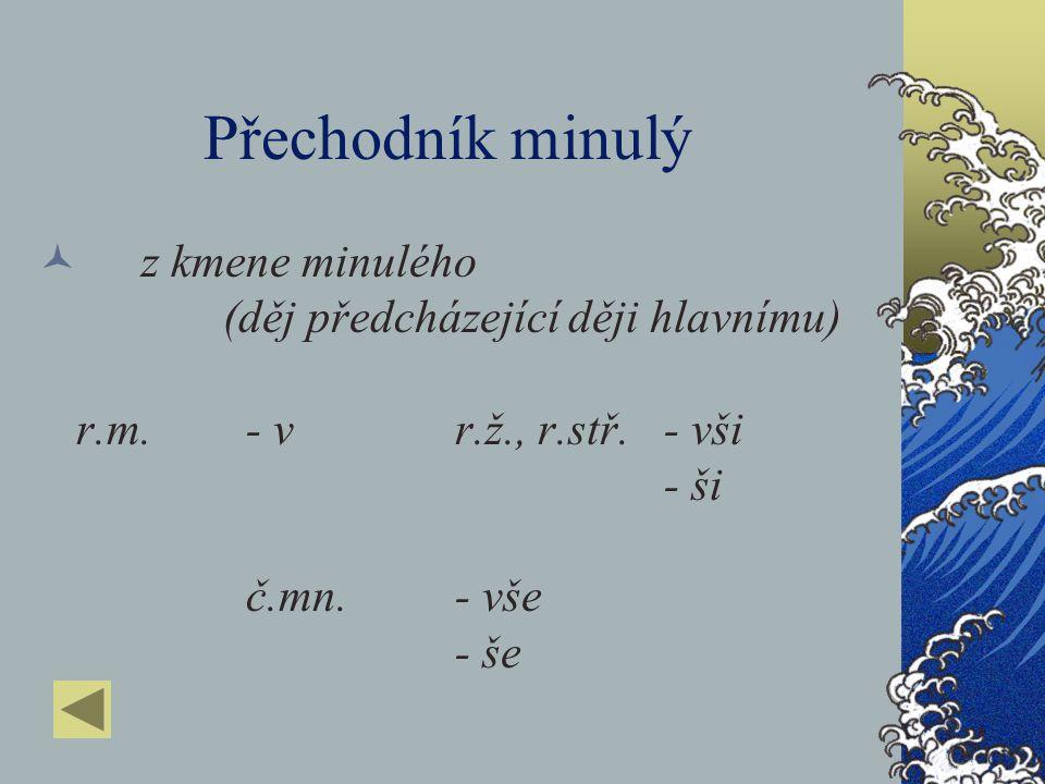 Přechodník minulý z kmene minulého (děj předcházející ději hlavnímu) r.m. - v r.ž., r.stř.