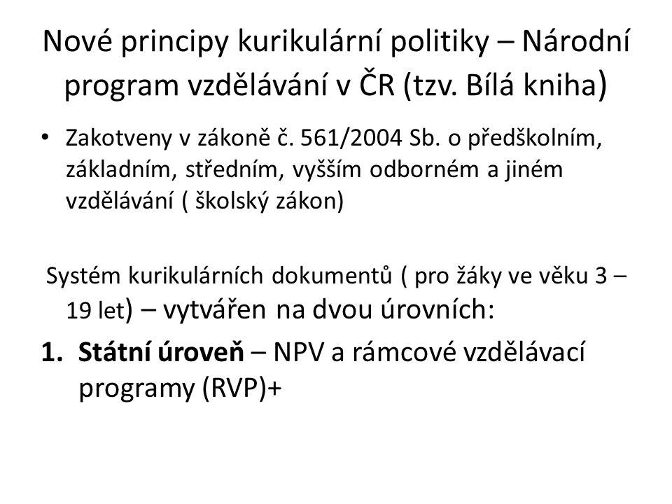 Nové principy kurikulární politiky – Národní program vzdělávání v ČR (tzv. Bílá kniha)