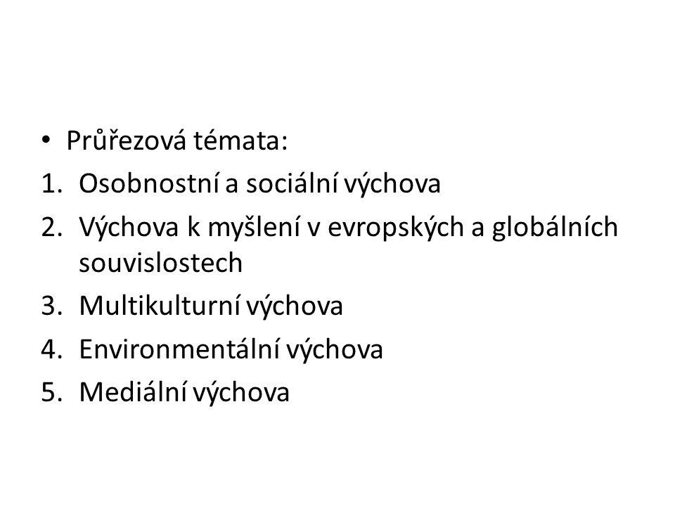 Průřezová témata: Osobnostní a sociální výchova. Výchova k myšlení v evropských a globálních souvislostech.