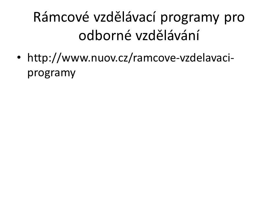 Rámcové vzdělávací programy pro odborné vzdělávání