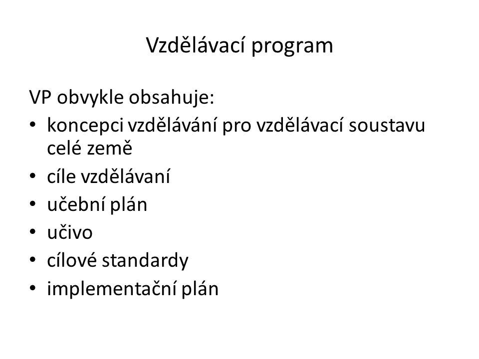 Vzdělávací program VP obvykle obsahuje: