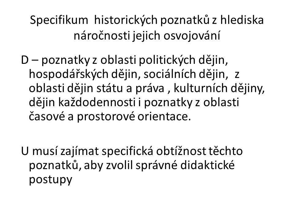 Specifikum historických poznatků z hlediska náročnosti jejich osvojování